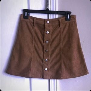 Faux suede button down skirt.